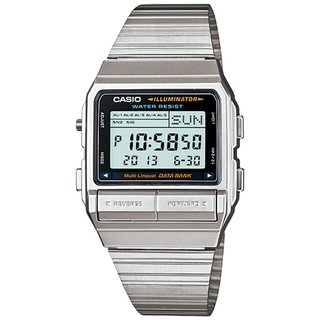 Casio Men's Core DB380-1 Silvertone Stainless Steel Quartz Watch with Digital Dial
