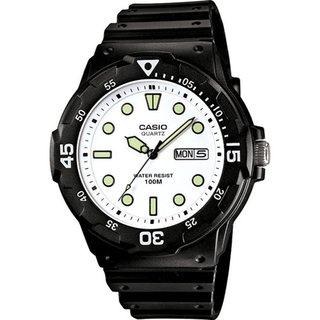 Casio Men's Core MRW200H-7EV Black Resin Quartz Watch with White Dial