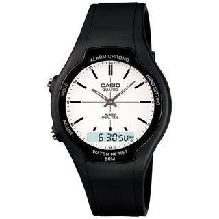Casio Men's Core AW90H-7EV Black Rubber Quartz Watch with White Dial