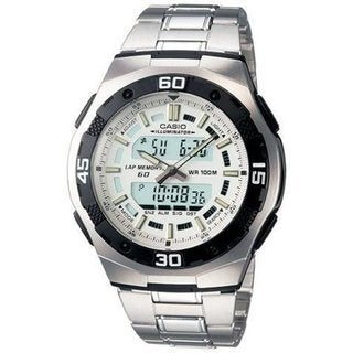 Casio Men's Core AQ164WD-7AV Silvertone Stainless Steel Quartz Watch with Digital Dial