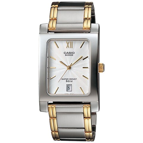 Casio Men's BEM-100SG-7AV 'Classic' Two-Tone Stainless Steel Watch - silver
