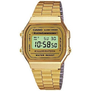 Casio Men's A168WG-9W Goldtone Stainless Steel Quartz Watch with Digital Dial