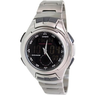 Casio Men's Core AQ160WD-1BV Silvertone Stainless Steel Quartz Watch with Digital Dial