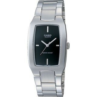Casio Men's Core MTP1165A-1C Silvertone Stainless Steel Quartz Watch with Black Dial