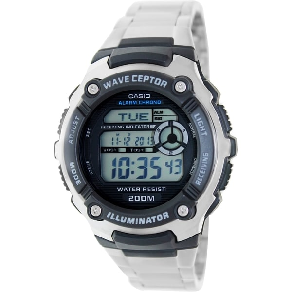 Casio Men's Wave Ceptor WV200DA-1AV Silvertone Stainless Steel Quartz Watch with Digital Dial