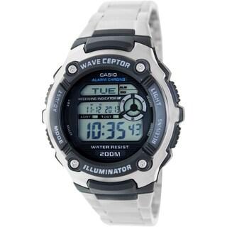 Casio Men's Wave Ceptor Silvertone Stainless Steel Quartz Watch with Digital Dial
