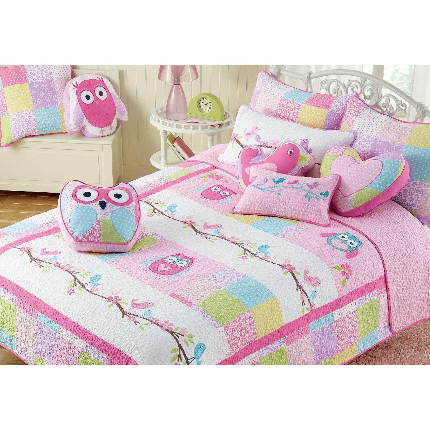 Cozy Line Pink Owl Cotton 3-piece Quilt Set (Queen-3-piec...