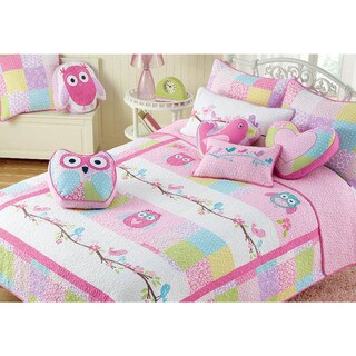 Cozy Line Pink Owl Cotton 3-piece Quilt Set
