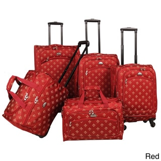 American Flyer Fleur-de-Lis 5-piece Spinner Luggage Set - 28 inches high x 18 inches wide x 11 inches deep