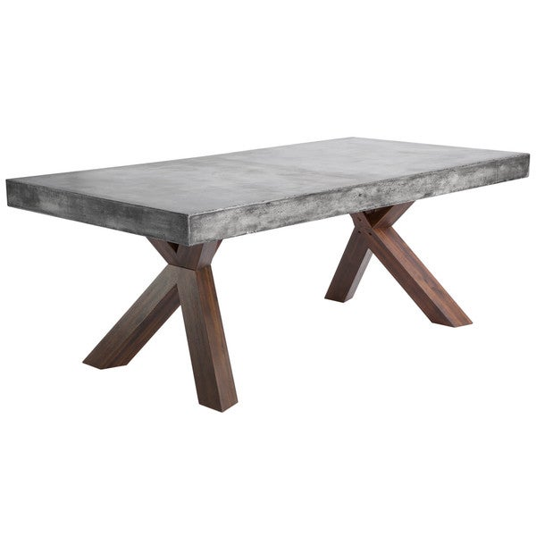 Shop Sunpan MIXT Warwick Grey Rectangular Stone Top Dining Table - Wood and stone dining table