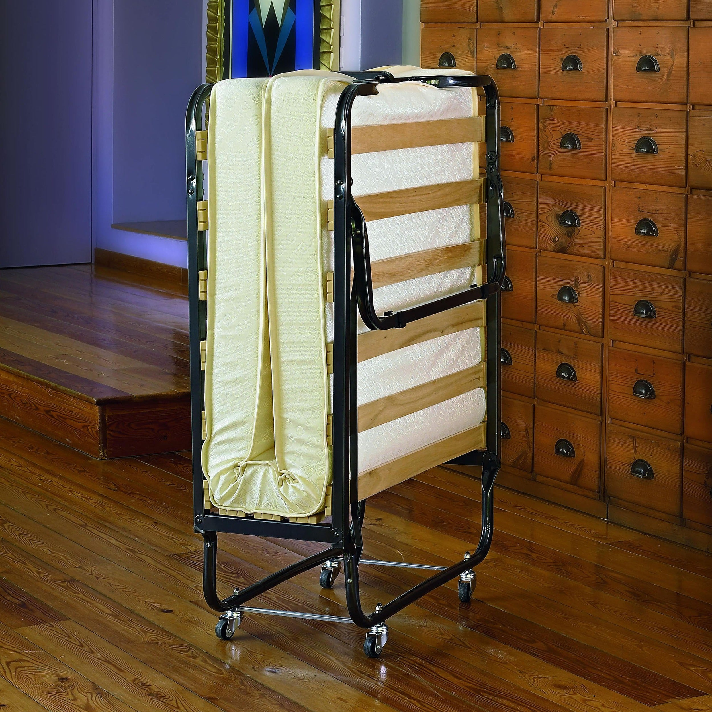 Linon Thebes Space Saving Folding Bed with Thick Mattress