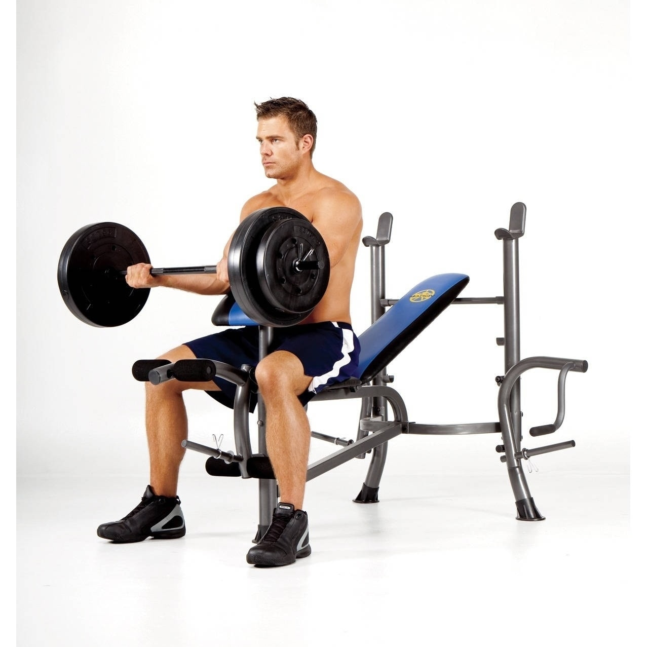 Marcy Standard Size Bench with 80-pound Weight Set - Blue...