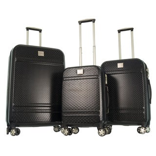 GABBIANO Texture Black Polycarbonate 3-piece Expandable Hardside 8-wheel Spinner Luggage