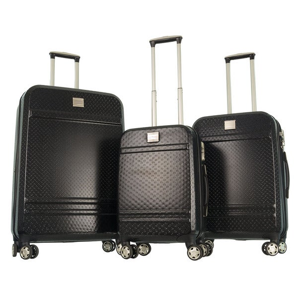 GABBIANO Texture Black Polycarbonate 3-piece Expandable Hardside Spinner Luggage. Opens flyout.