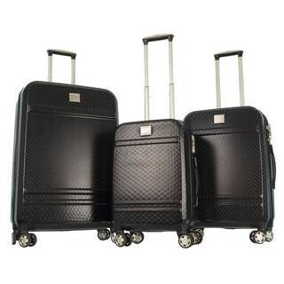 GABBIANO Texture Black Polycarbonate 3-piece Expandable Hardside Spinner Luggage
