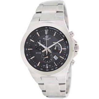 Casio Men's Edifice EFR500D-1AV Silvertone Stainless Steel Analog Quartz Watch with Black Dial