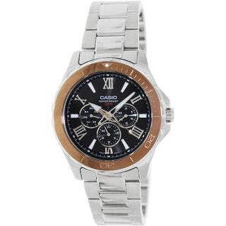 Casio Men's MTD1075D-1A2V Silvertone Stainless Steel Analog Quartz Watch with Black Dial
