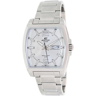 Casio Men's Edifice EFR100D-7AV Silvertone Stainless Steel Analog Quartz Watch with Silvertone Dial