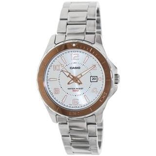 Casio Men's MTD1074D-7AV Silvertone Stainless Steel Analog Quartz Watch with Silvertone Dial