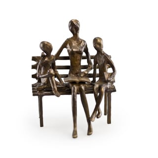 Mother Reading to Children Bronze Sculpture