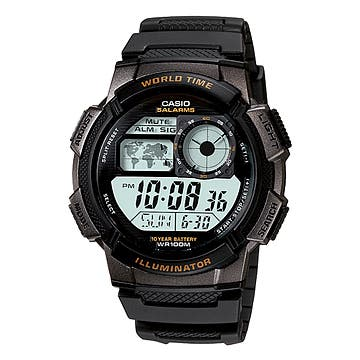 Casio Men's Core AE1100W-1AV Black Resin Quartz Watch with Digital Dial