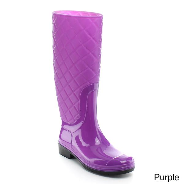 Easos Women's 'Geal' Knee-high Quilted Jelly Rain Boots