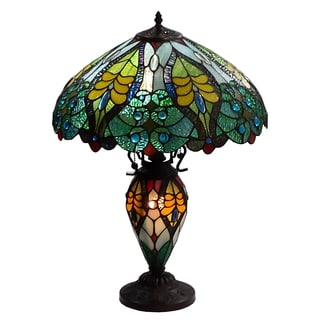 Amora Lighting Tiffany Style Floral Design Table Lamp Double Lit