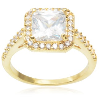 Journee Collection Brass 2 2/5ct TGW Cubic Zirconia Engagement Ring