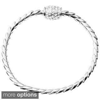 Journee Collection Brass Cubic Zirconia Magnetic Bracelet