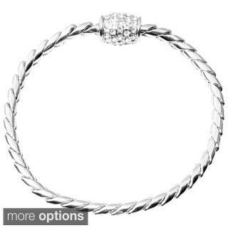 Journee Collection Brass Cubic Zirconia Magnetic Bracelet