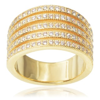 Journee Collection Brass 1 1/6ct TGW Cubic Zirconia Ring