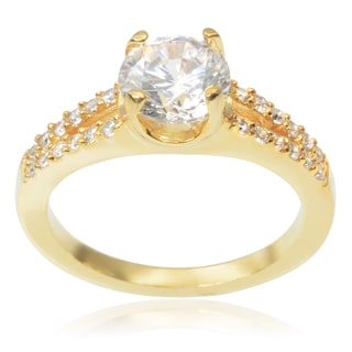 Journee Collection Brass 1 1/2ct TGW Cubic Zirconia Engagement Ring
