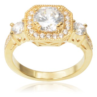 Journee Collection Brass 2 7/8ct TGW Cubic Zirconia Engagement Ring