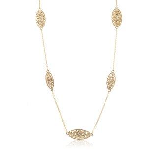 Journee Collection Brass Cubic Zirconia Oval Station Necklace