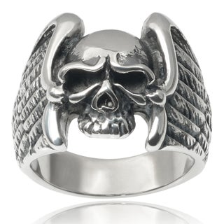 Vance Co. Men's Stainless Steel Eagle Wing Skull Ring