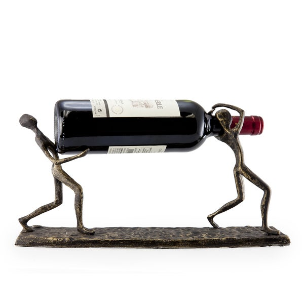 b94f654173 Shop Two Men Carrying a Bottle Metal Wine Holder - Free Shipping Today -  Overstock - 9198748