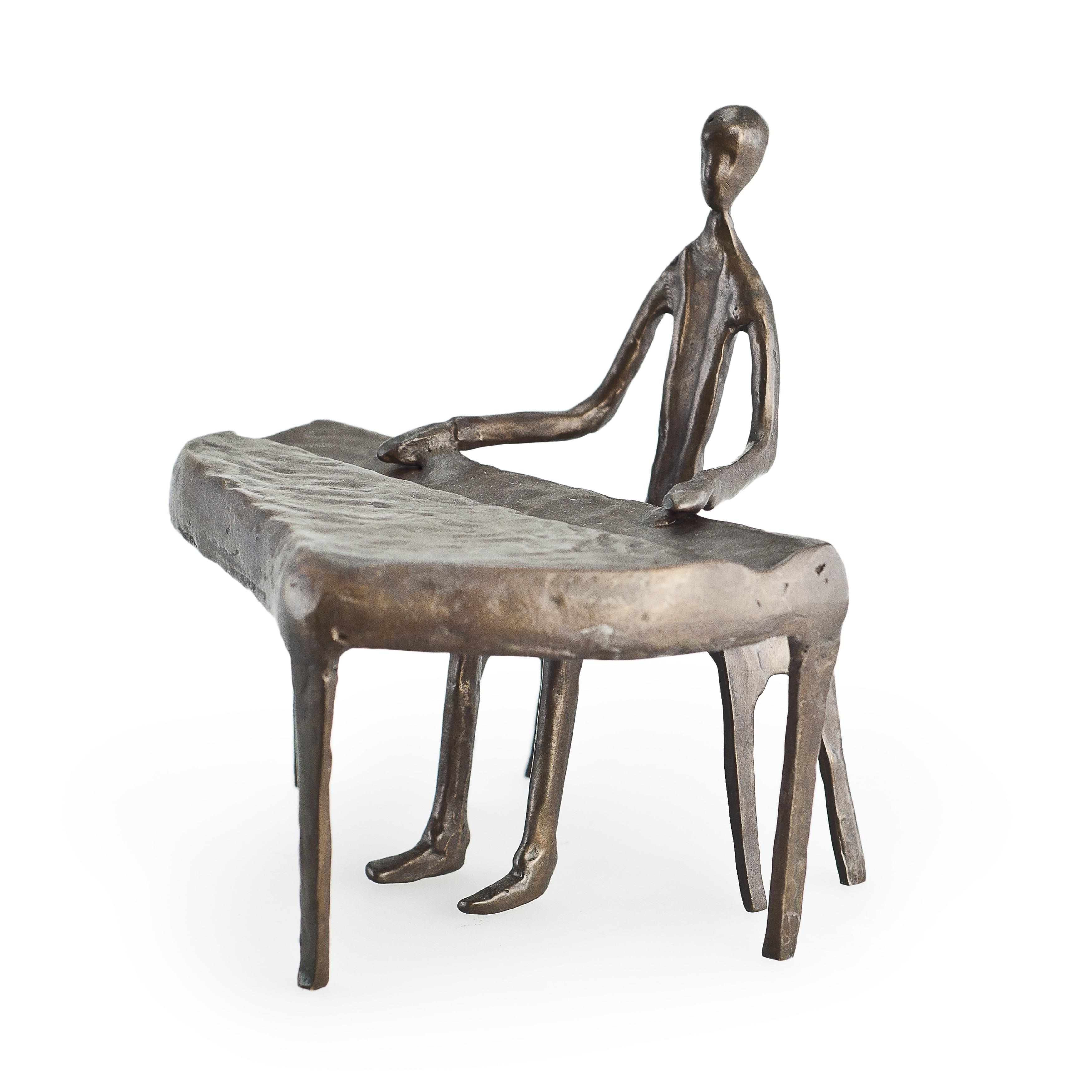 DANYA B. Piano Player Bronze Sculpture, Brown
