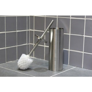 Etched Stainless Steel Toilet Brush Holder with Brush