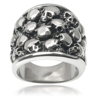 Vance Co. Men's Stainless Steel Multiple Skull Ring