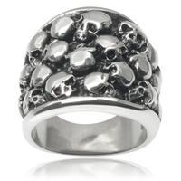 Vance Co. Men's Stainless Steel Multiple Skull Ring
