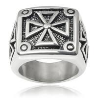 Vance Co. Men's Stainless Steel Iron Cross Ring