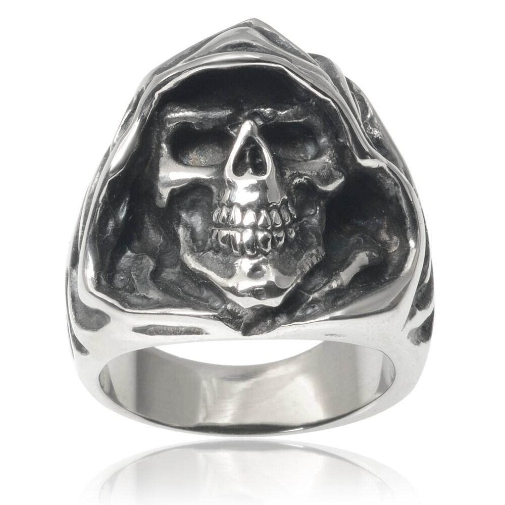 Vance Co. Stainless Steel Men's Grim Reaper Skull Ring (S...