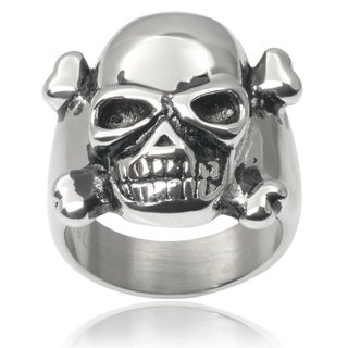 Vance Co. Men's Stainless Steel Crossbones Skull Ring
