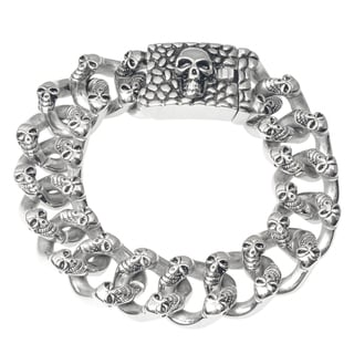Vance Co. Men's Stainless Steel Skull Curb Link Bracelet