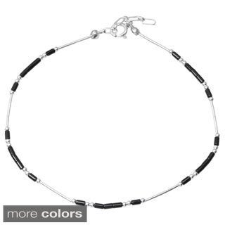 Journee Collection Sterling Silver Handmade Beaded Adjustable Anklet