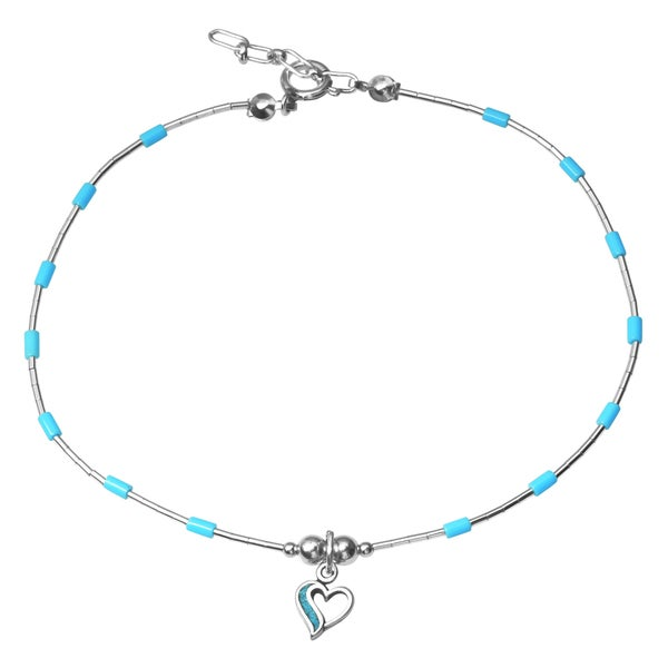29e961089e Shop Journee Collection Sterling Silver Beaded Heart Anklet - Free ...