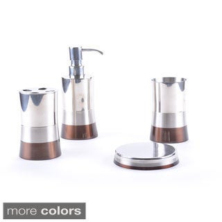 Shiny Matte/ Color Block Bottom Bath Accessory 4-piece Set