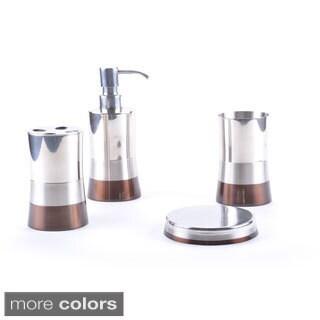 Shiny Matte/ Color Block Bottom Bath Accessory 4-piece Set (2 options available)