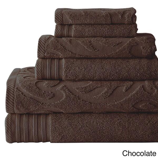 Amraupur Overseas Jacquard/ Solid Medallion Swirl 6-piece Towel Set