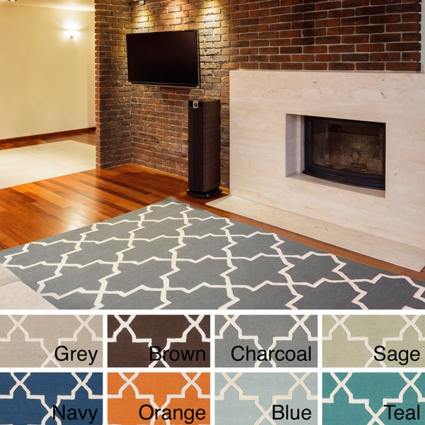 Hand-Tufted Autumn Moroccan Tiled Wool Rug (8' x 11')